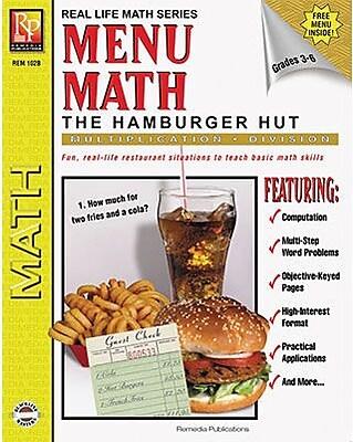Remedia® Menu Math Hamburger Hut Book 2nd, Multiplication and Division, Grades 3rd - 6th