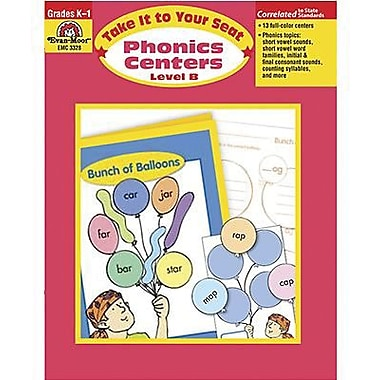 Evan-Moor Take It To Your Seat Phonics Centers Teacher Resource Book, Kindergarten - 1 (EMC3328)