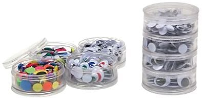 Chenille Craft® Stacking Storage Wiggle Eyes Containers, 400 Eyes