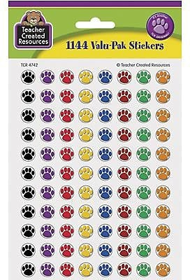 Teacher Created Resources® Mini Stickers, Colorful Paw Prints, 1144/Pack (TCR4742)