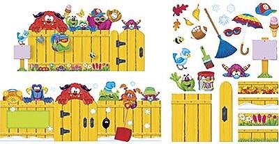 Trend® Bulletin Board Sets, Furry Friends 4 Seasons Fence