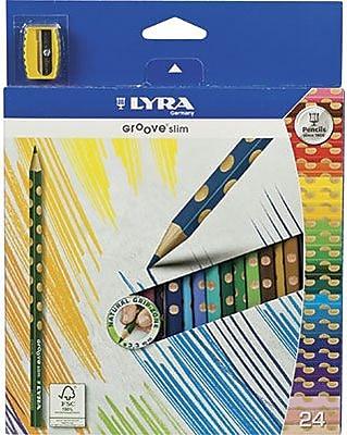 Prang® (Dixon Ticonderoga®) Groove Slim Colored Pencils, 3.3mm, Sharpened, Assorted Colors, 24/Set