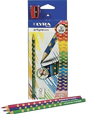 Prang® (Dixon Ticonderoga®) Groove Slim Colored Pencils, 3.3mm, Sharpened, Assorted Colors, 12/Set