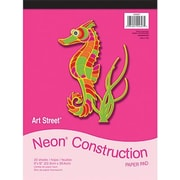 """Pacon® Art Street® Neon Construction Paper Pad, Assorted, 9""""(W) x 12""""(L), 20 Sheets"""