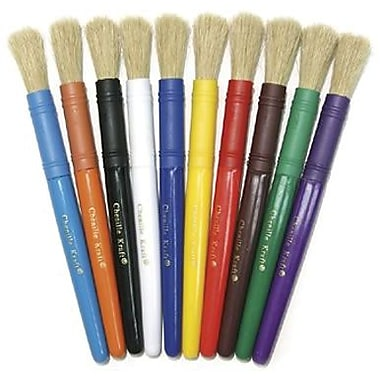 Chenille Kraft Natural Bristle Brush With Plastic Handle, 40/Pack (CK-5901)