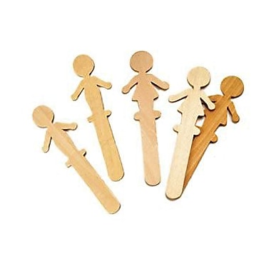 Chenille Craft People Shaped Wood Craft Sticks, 36/Pack (CK-364502)
