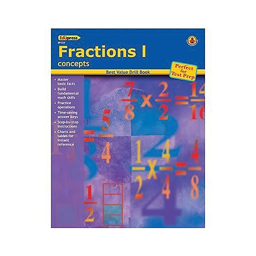Edupress Best Value Fractions I Concepts Drill Book Grades 2nd