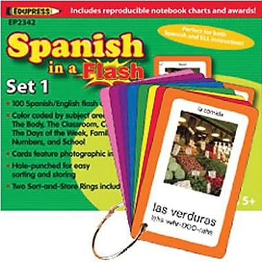 Edupress Spanish In A Flash Colour-Coded Flash Card Set 1, Grade 3+ (EP-2342)
