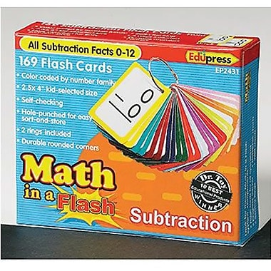 Edupress Math In A Flash Colour-Coded Flash Cards, Subtraction (EP-2431)