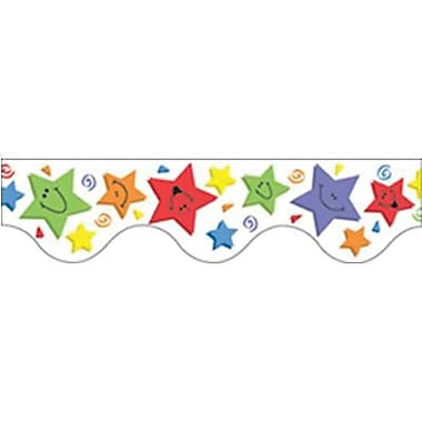 Eureka® pre-school - 12th Grades Scalloped Deco Trim, Colorful Happy Stars