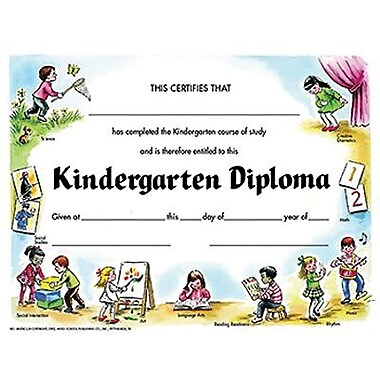 Hayes® Yellow Border Kindergarten Diploma Certificate, 8 1 ...