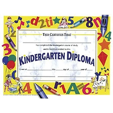 Hayes White Border Kindergarten Diploma Certificate, 8 1/2