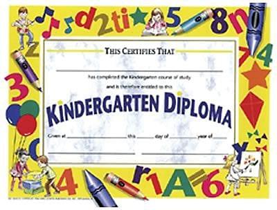Hayes® White Border Kindergarten Diploma Certificate, 8 1/2