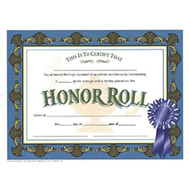 Hayes® Blue Border Honor Roll Certificate, 8 1/2