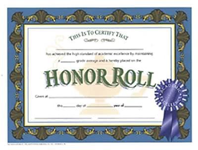 Honor Roll Certificate, 8-1/2