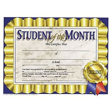 Hayes Blue Border Student Of The Month Certificate, 8 1/2