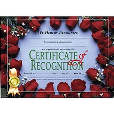 Hayes® White Border Certificate of Recognition, 8 1/2