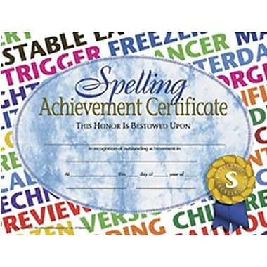 Hayes® Spelling Achievement Certificate, 8 1/2
