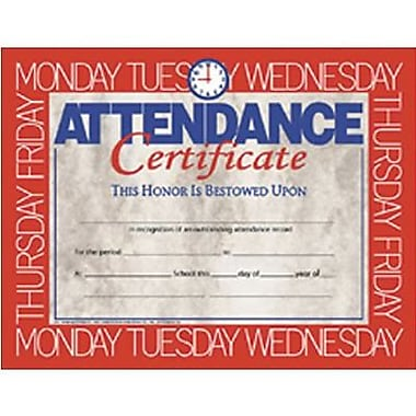 Hayes White Border Attendance Certificate, 8 1/2
