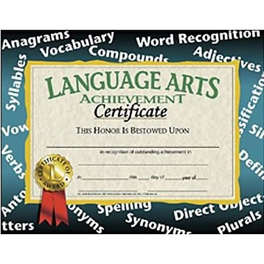 Flipside Yellow Border Language Arts Achievement Certificate, 8 1/2