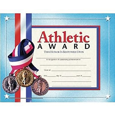 Hayes Blue Border Athletic Award Certificate, 8 1/2