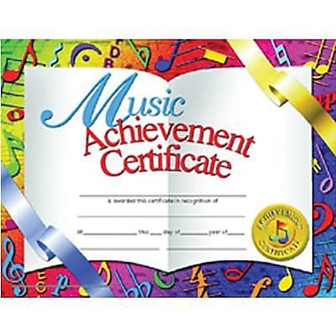 Flipside White Border Music Achievement Certificate, 30/Pack (H-VA636)