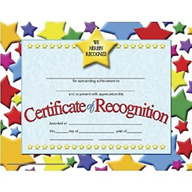 Hayes® Blue Border Certificate of Recognition, 8 1/2