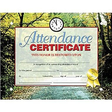 Hayes® Red Border Attendance Certificate, 8 1/2