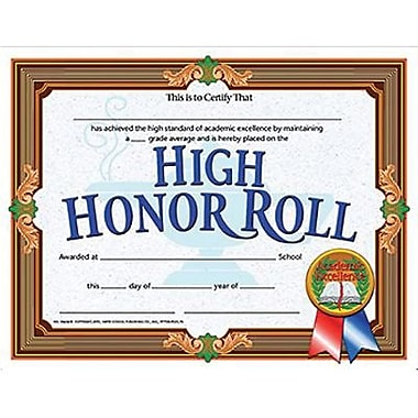 Hayes® Brown Border High Honor Roll Certificate, 8 1/2