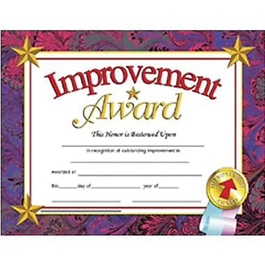 Hayes Improvement Award Certificate, 8 1/2