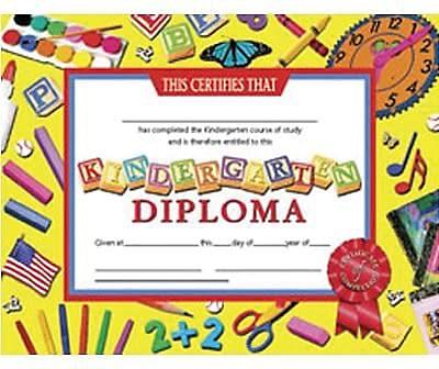 Hayes® Kindergarten Diploma Certificate With Award Seal, 8 1/2