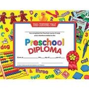 "Hayes Yellow Border Pre-school Diploma Certificate, 8 1/2"" X 11"", 120/Pack (H-VA706)"