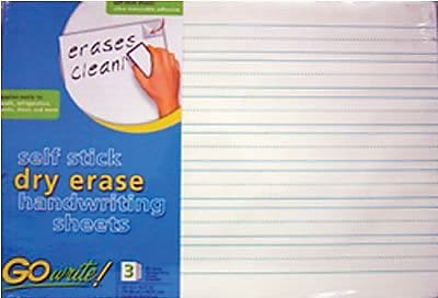 """""Pacon GoWrite! Dry Erase Handwriting Sheets, 22""""""""(W) x 16 1/2""""""""(L)"""""" 883990"
