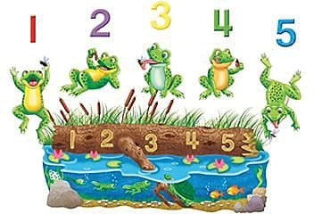 5 Speckled Frogs Bilingual Rhyme Flannelboard Set Pre-Cut