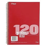 "Mead Spiral 3 Subject Wide Ruled Notebook, 10 1/2"" x 7 1/2"", 10 Pack"