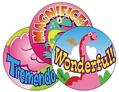 Trend® Stinky Stickers®, Large Round, Dino Fun Scented (Strawberry)