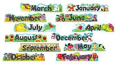Alpha-Beads 12 Monthly Headers Mini Bulletin Board Set