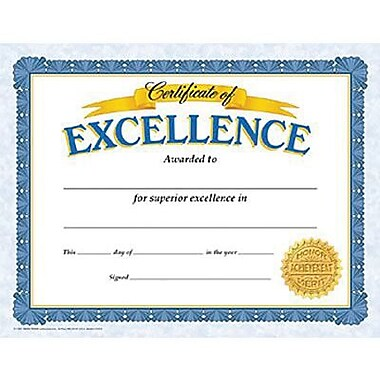 Trend Enterprises® Certificate of Excellence, 8 1/2