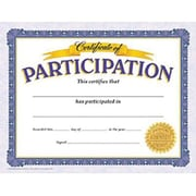 "Trend Enterprises® 8 1/2"" x 11"" Certificate of Participation, 30/Pack (T-11303)"