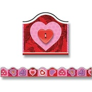 """TREND T-92057 39' x 2.25"""" Scalloped Scrapbook Hearts Terrific Trimmer, Pink/Red"""
