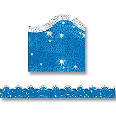 Trend Enterprises® pre-kindergarten - 9th Grades Scalloped Border, Super Blue Sparkle