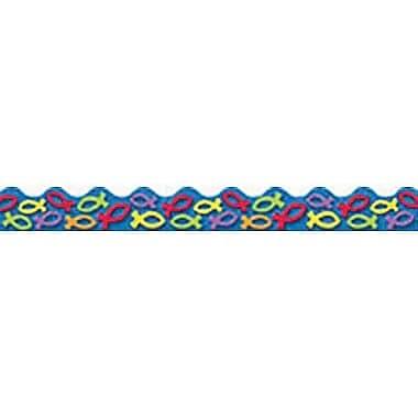 Trend Enterprises® Pre-Kindergarten - 9th Grades Scalloped Terrific Trimmer, Colorful Christian Fish