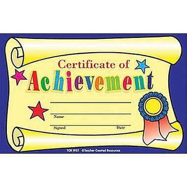 Teacher Created Resources® Certificate of Achievement, 8 1/2