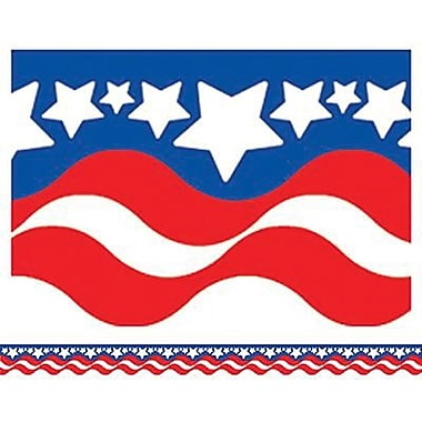 Teacher Created Resources Infant - 12th Grades Scalloped Bulletin Board Border Trim, Patriotic, 108/Pack (TCR4158)
