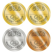 Teacher Created Resources Medals Wear 'Em Badges, Gold, Silver, Bronze, 192/Pack (TCR4911)