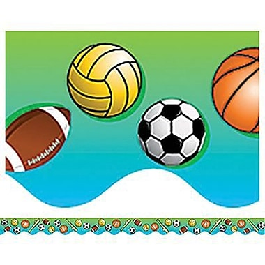 Teacher Created Resources Pre-school - 8th Grades Scalloped Bulletin Board Border Trim, Sports, 108/Pack (TCR4130)