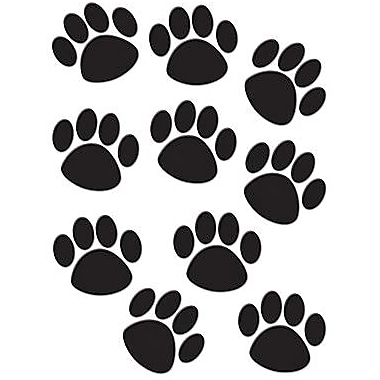 Teacher Created Resources Paw Prints Accents, Black, 30/Pack (TCR4277)
