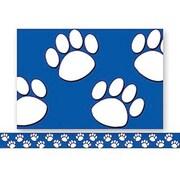 Teacher Created Resources® P-12th Grades Straight Bulletin Board Border Trim, Blue/White Paw Prints