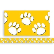 "Teacher Created Resources TCR4621 35"" x 3"" Straight Paw Prints Border Trim, Gold/White"