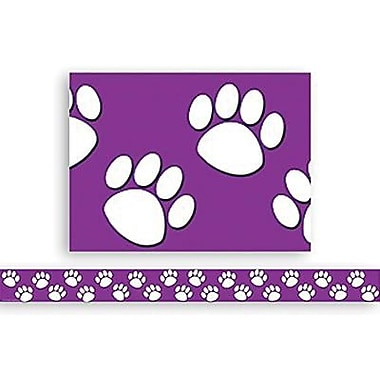 Teacher Created Resources® P-12th Grades Straight Bulletin Board Border Trim, Purple/White Paw Print